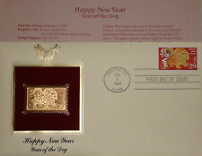 22K Gold 1994 Year of The Dog Lunar New Year Gold Proof Replica 1st Day Cover