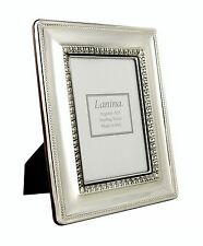 "Italian Sterling Silver Picture Frame 3.5x5"" Photo Wood Back New Antique Effect"