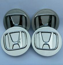 Honda set 4 center cap emblems hub caps cover gray chrome rims Accord Civic