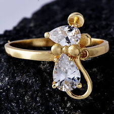 Womens 14K gold filled CZ Cute Mickey Mouse eternity wedding Ring Size 8.5