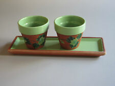 Ceramic TRAY & Two CANDLE HOLDERS / FLOWER POTS Handmade Quebec Can.