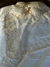 Vintage antique style Jane Guy satin lace ribbon quilt bedspread + 4 cushion set