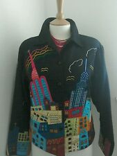 Pushpa navy boho/street art / pop art unusual city scene jacket size medium