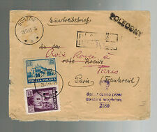 1945 Gorzow Poland Censored Cover to paris France