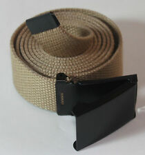 "NEW FLIP TOP ADJUSTABLE 42"" INCH MILITARY WEB KHAKI CANVAS BLACK BELT BUCKLE"