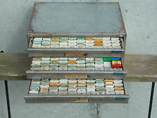 Vintage Bulova Repair master 100 3 drawer metal watch parts assortment lot crown