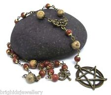 Gaia Jasper & Goldstone Rosary Pentagram  Pagan Jewellery Wicca -  Made to Order