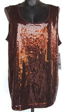 NWT Notations Sequin Bling Shimmery Cami Tank Top 2X Bronze Brown Stretchy $48