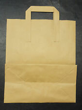 100 SMALL SOS BROWN KRAFT PAPER CARRIER BAGS 7x3.5x8.5""