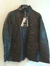 Mens Infinity New York Hand Stitched Waxed Genuine Leather Jacket Coat Brown
