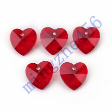 Pretty 12pcs Red Glass Crystal Heart-Shaped Beads Spacer Findings 14mm Charms