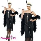Ladies 1920s 20s Black Flapper Costume Charleston Gatsby Outfit Fancy Dress Up