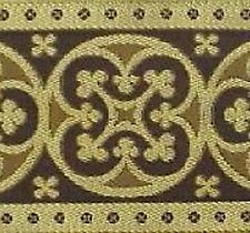 Very Wide, Jacquard Trim. Medieval. Gold & Cappuccino