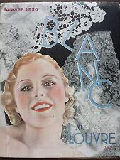 """CATALOGUE MODE 1936 """" AU LOUVRE """" LE BLANC"""