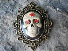 SKULL (HAND PAINTED) CAMEO PENDANT - MEXICAN, SUGAR SKULL, DAY OF THE DEAD