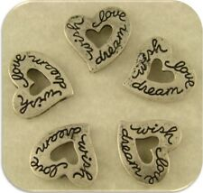 "2 Hole Beads Hearts Engraved with ""wish love dream"" Silver Metal ~ Sliders QTY 5"