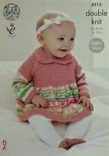 KNITTING PATTERN Baby Long Sleeve Smock Dress with Collar DK King Cole 4513