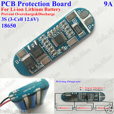3S 9A PCB BMS Protection Board for 3 Packs 18650 Li-ion Lithium Battery Cell 3S