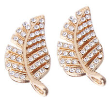 50pcs Lots Gold Plated Rhinestones Hollow Leaf Charms Alloy Pendants Findings L