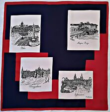 "NETHERLANDS-VINTAGE SOUVENIR HOLLAND CITIES DRAWINGS BLUE RED 26"" SQUARE SCARF"