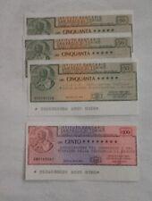 4 Miniassegni Istituto Bancario San paolo di Torino L. 50 e L. 100 - Perfetti