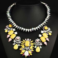 pendant Crystal Mix Statement charm chunky colorful collar Chain  Necklace 691