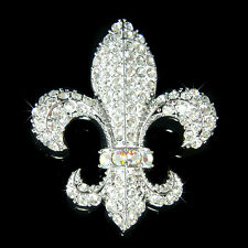 w Swarovski Crystal ~Fleur De lis~ Lys France Paris Celebrity Flower Pin Brooch