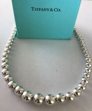 Tiffany & Co Sterling Silver Graduated Bead Ball Necklace 16""