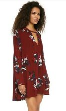 Free People Button Neck Electric Orchid Tree Swing Tunic Dress  sz. S