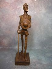 "Vintage wooden hand carved figure Don Quijote Quixote 10 "" Tall"