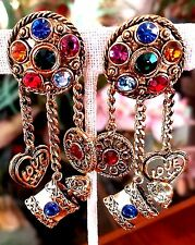 LARGE Vintage Multi-Color Rhinestone Perfume Bottle Heart Charm EARRINGS