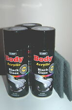 GLOSS BLACK CAR ALLOY WHEEL 3 cans spray paint repair complete kit for 4 alloys