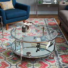 Contemporary Chrome Mirrored Round Glass Cocktail Coffee Table Beveled Storage