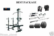 Gofit HOME GYM SET 120 KG WEIGHT + 20 in 1 Bench + 4 FT CURL + ALL  ACCESSORIES