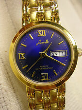 """Ladies Watch Gold Tone Blue Face 7"""" Long Great Gift NOS New Battery Lorelli"""