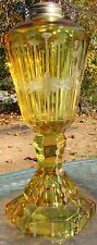 Antique EAPG Canary Flint Glass Whale Oil Lamp Stunning Etched to Clear Floral
