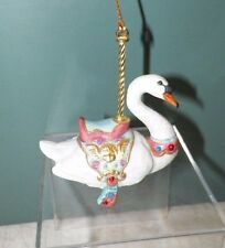 LENOX CAROUSEL ANIMALS CHRISTMAS DECORATIVE ORNAMENT 1989 SWAN EUC 3 1/2""
