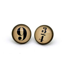harry potter  '9' and '3/4' Hogwarts Express Earrings Glass Cabochon bronze tone