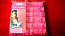 12pc Snap On  Hair Rollers PINK Plastic Curlers Hair Dressing Wet Setters