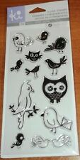 CLEAR ACRYLIC HAMPTON ART STAMPS BIRDS ~ OWLS, SONGBIRDS, PARROT  wks CTMH blks