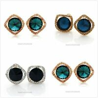 Fashion New Elegant Costume Shiny Rhinestone Large Stud Earrings 3 Colors
