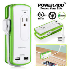 Poweradd 2-Outlet Portable Power Strip Surge Protector Travel Charger 2 USB Port