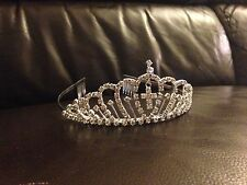 Tia01 1st Holy Comunione Cristallo / Diamante Pettine Tiara CERCHIETTO W / Croce Charm
