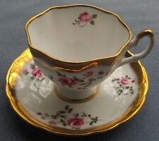 Salisbury Bone China England Fancy Cup and Saucer Set Pink Roses Heavy Gold Trim