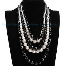 Black White Five Multiple Strings Big Beads Chains Pendant Necklace
