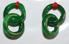AAA Amazing Green Jade Loops Rings Pair  16mm Great For Earrings