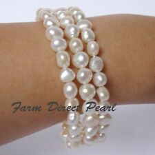 "Genuine Multi strand 3 row White Pearl Bracelet 7.5"" Cultured Freshwater"