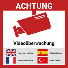 Aufkleber Videoüberwacht mehrsprachig | 6 Stück - 15*15cm | Hochwertig mit UV-Sc