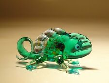 "Blown Glass Figurine ""Murano"" Art Insect Small Green CHAMELEON"