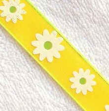 "1-YD 7/8"" Yellow Ribbon White Spring Flower Daisy,Green Wire edge Hobby Lobby"